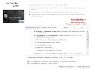 Tarjeta ideal para estudiantes, Santander Zero