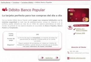Tarjeta para estudiantes débito, Banco Popular